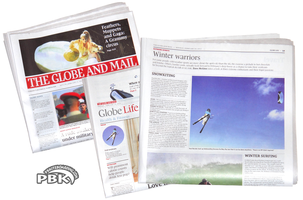 Globe and Mail Newspaper Article Snowkiting Kite Skiing Canada USA
